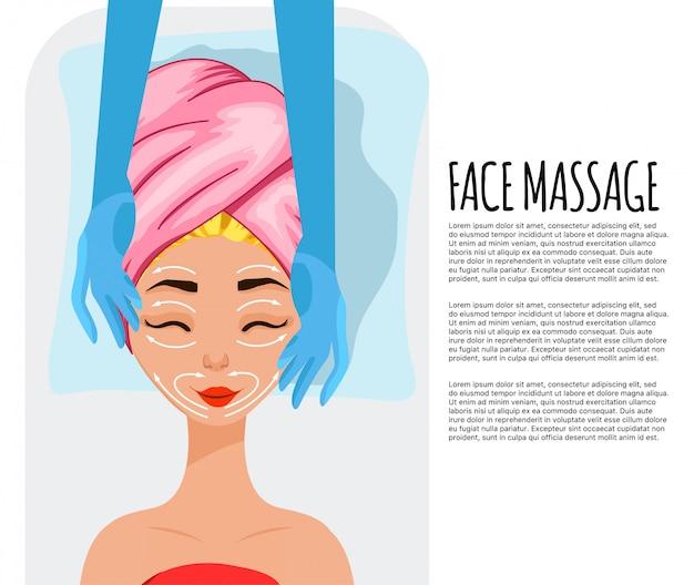 Dziewczyna na kosmetyczne procedury, szablon tekstu. styl kreskówkowy.