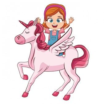 Dziewczyna na kreskówce jednorożca