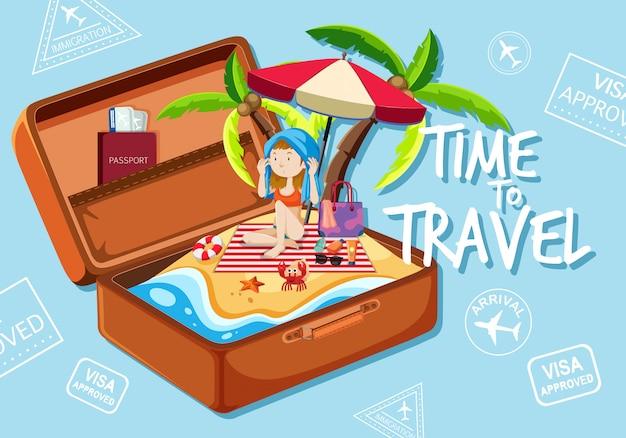 Dziewczyna na plaży w walizce