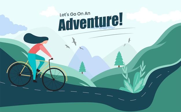 Dziewczyna na rowerze górskim przygoda płaskie ilustracje wektor premium