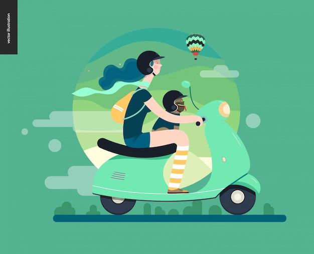 Dziewczyna na skuterze