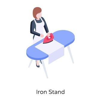 Dziewczyna naciskając ubrania na izometrycznej ilustracji żelaznego stojaka