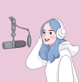 Dziewczyna nagrywająca muzykę. dzień radia słowo.