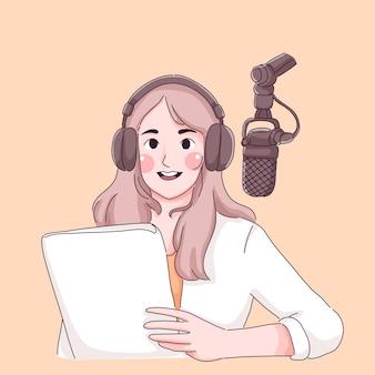 Dziewczyna nagrywająca podcast strumieniowy charakter