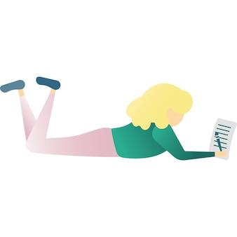Dziewczyna napisać list lub wakacje pocztówka wektor ikona