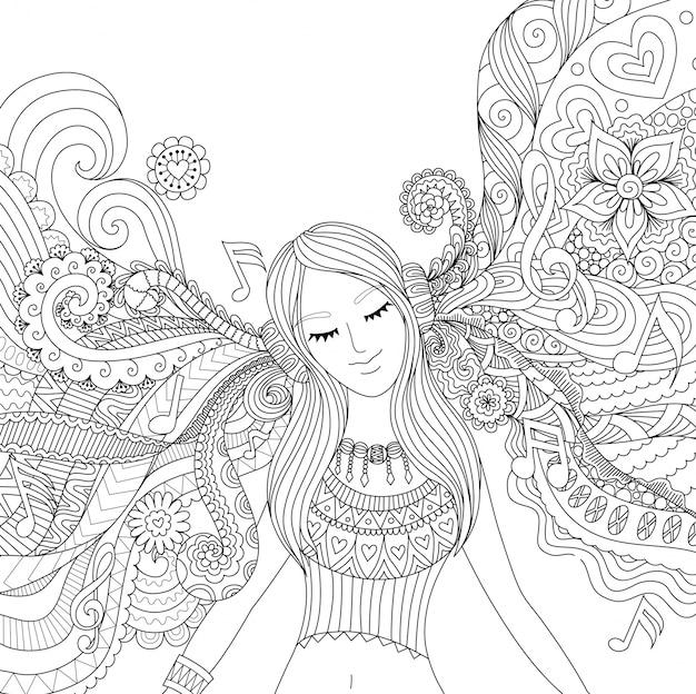 Dziewczyna narysowanego ręcznie słuchania muzyki