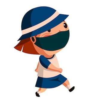 Dziewczyna nosi maskę gotową do szkoły z nowym normalnym zachowaniem