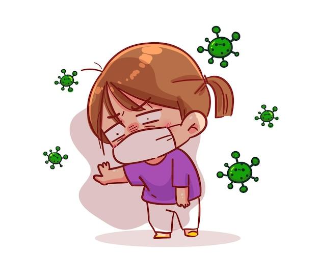 Dziewczyna nosi maskę i czuje się zmęczona, dusząc się. ilustracja kreskówka