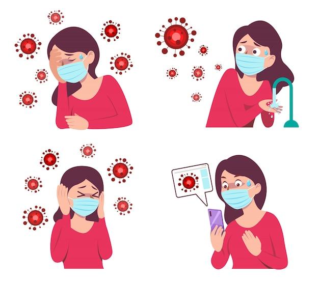 Dziewczyna nosi maskę, trzyma smartfon, myje ręce, aby zapobiec wirusowi covid-19, zestaw kreskówek