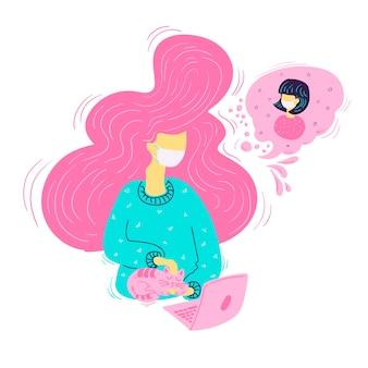 Dziewczyna nosząca maskę i rozmawiająca na ilustracji rozmowy wideo na białym tle