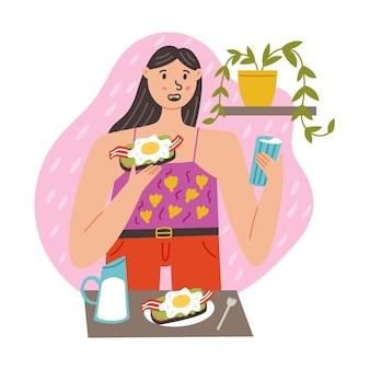 Dziewczyna o śniadanie z mlekiem kanapkowym. poranna codzienna rutyna. nowoczesna ilustracja wektorowa płaska