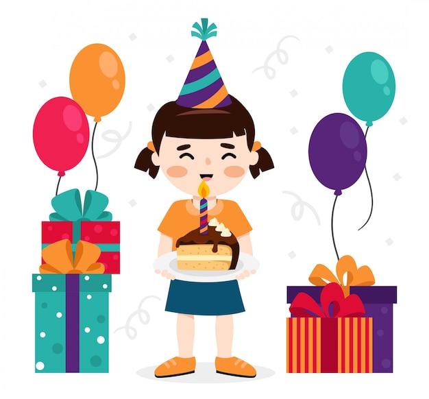 Dziewczyna obchodzi swoje urodziny prezenty, ciasto i balonów