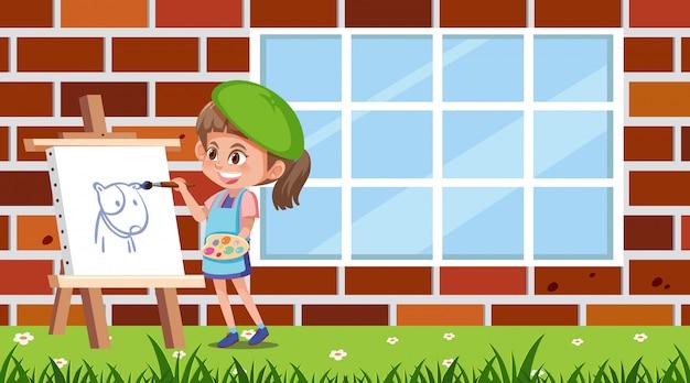 Dziewczyna obraz na płótnie w parku