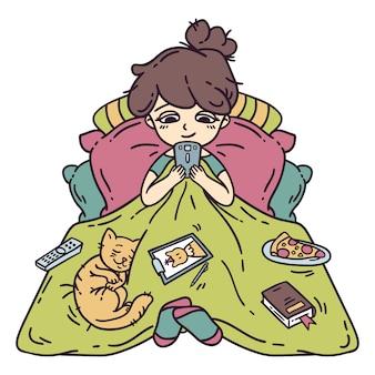 Dziewczyna odpoczywa w łóżku.