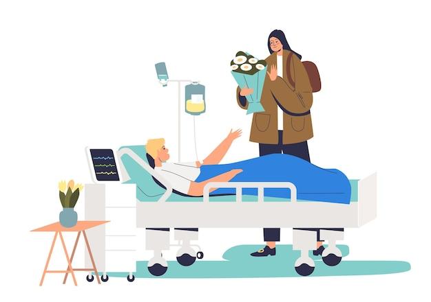 Dziewczyna odwiedza pacjenta w szpitalu
