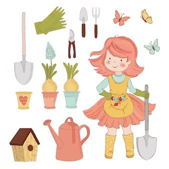 Dziewczyna ogród akcesoria do pielęgnacji wiosny