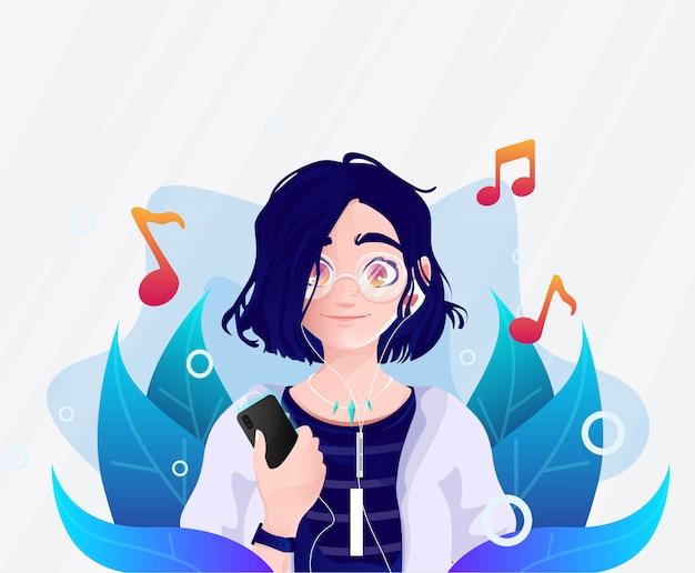 Dziewczyna okulary, która kocha słuchanie ilustracji muzyki