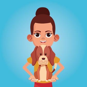 Dziewczyna ono uśmiecha się z zwierzę domowe kreskówkami