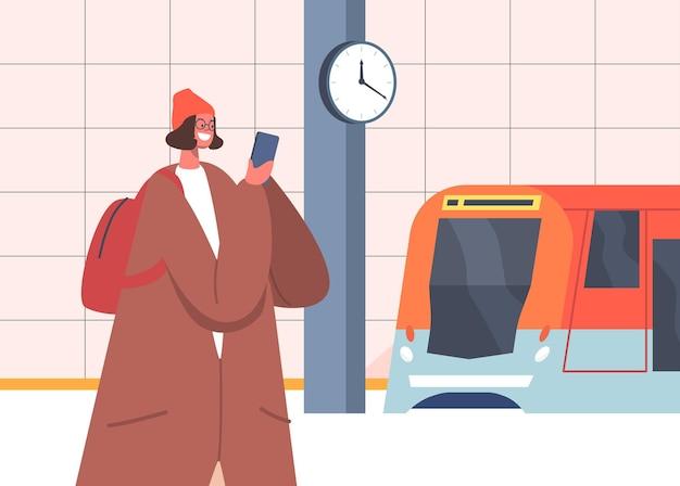 Dziewczyna pasażera w tunelu podmiejskim miasta publicznego. uśmiechający się znak kobiecy mówiący przez smartfon stoisko na stacji metra stacji metra, platforma czeka na pociąg. ilustracja wektorowa kreskówka ludzie