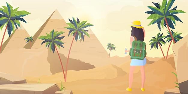 Dziewczyna patrzy na egipskie piramidy. sahara w stylu cartoon.