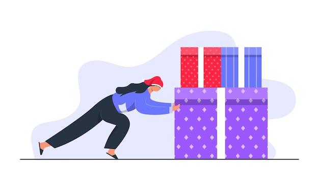 Dziewczyna pchająca ogromne pudełka na prezenty na boże narodzenie ilustracja koncepcyjna