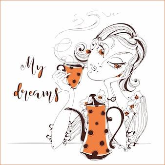 Dziewczyna pije herbatę. dziewczyna marzy o. mój sen.