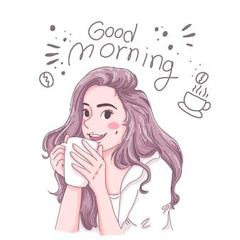 Dziewczyna pije kawę.