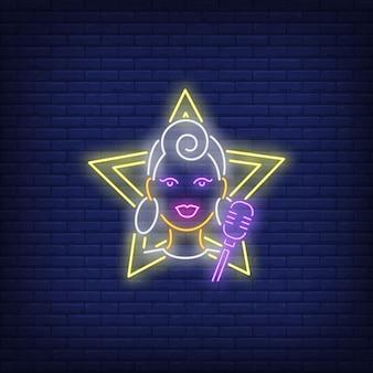 Dziewczyna piosenkarka neon znak