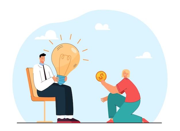 Dziewczyna płaci człowiekowi za jego pomysł. płaska ilustracja