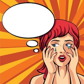 Dziewczyna płacze. ilustracja w stylu retro komiks
