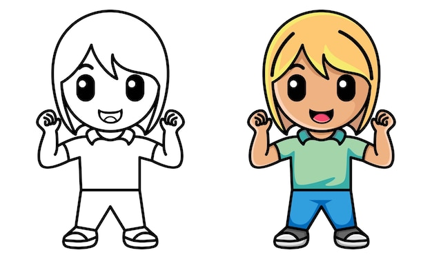 Dziewczyna pokazuje bicepsy kolorowanka dla dzieci