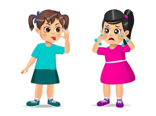 Dziewczyna pokazuje grymas twarzą do dziewczyny, dopóki nie zacznie płakać. na białym tle