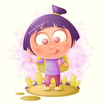 Dziewczyna pokazuje kciuk. ilustracja kreskówka.
