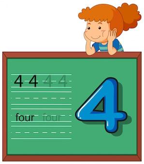 Dziewczyna pokazuje numer cztery na chalkboard