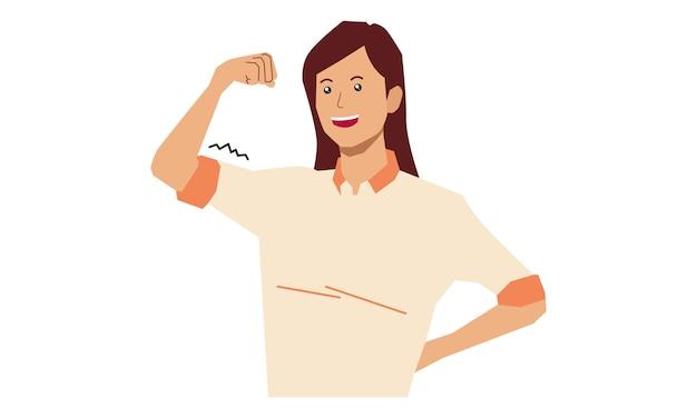 Dziewczyna pokazuje swoje bicepsy