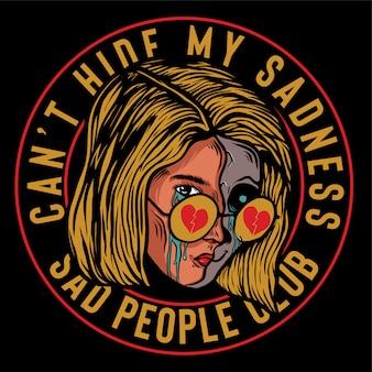 Dziewczyna pół czaszki płacze w okularach