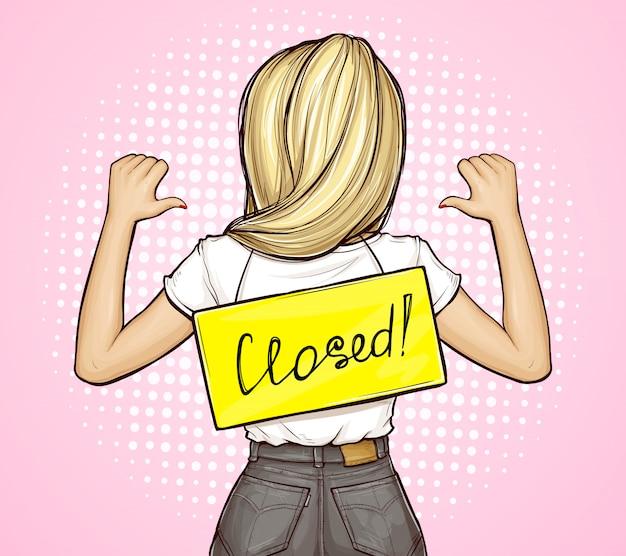 Dziewczyna pop-art z szyldem zamknięte