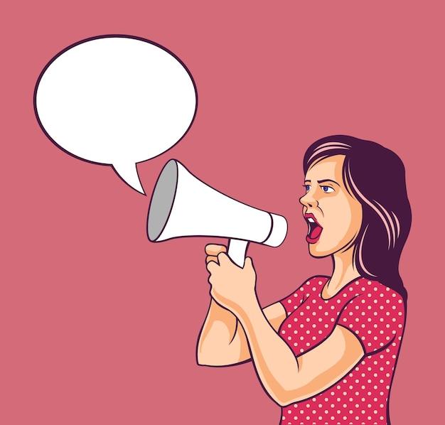 Dziewczyna pop-artu z megafonem i dymek. komiczny