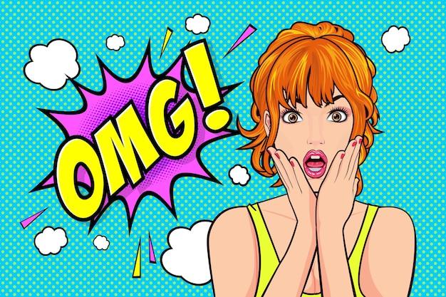 Dziewczyna pop-artu ze zszokowaną twarzą zaskoczona, mówiąca o omg w stylu pop-artu