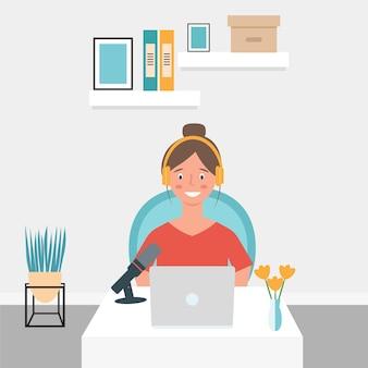 Dziewczyna pracuje przy komputerze