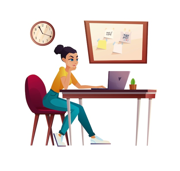 Dziewczyna pracuje w domowym biurze, student lub freelancer przy stole komputera. połączenie wideo, konferencja lub edukacja.