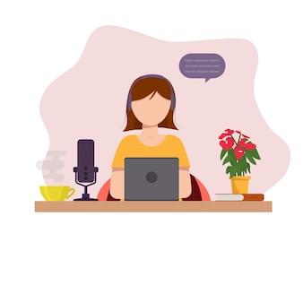 Dziewczyna pracuje w domu. praca w domu. blogowanie, podcast. ilustracja wektorowa płaski.