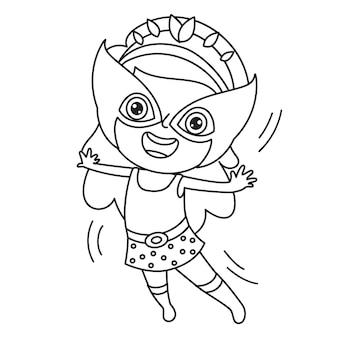 Dziewczyna przebrana w pelerynę i maskę, rysowanie linii dla dzieci, kolorowanki