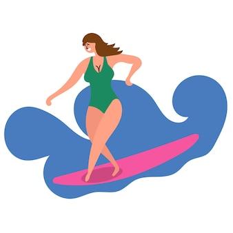 Dziewczyna przyłapana na fali toczy deskę surfingową surfing ocean turystyka masowa inspiruje do podróży