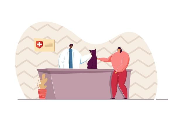 Dziewczyna przynosząc psa do kliniki weterynaryjnej płaskie wektor ilustracja. lekarz weterynarii bada zwierzę. właściciel, koncepcja zwierzęcia domowego na baner, projekt strony internetowej lub stronę docelową