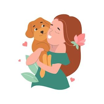 Dziewczyna przytulająca zabawnego psa na światowy dzień psa i zwierzaka szczeniak to maltipoo na naklejkę
