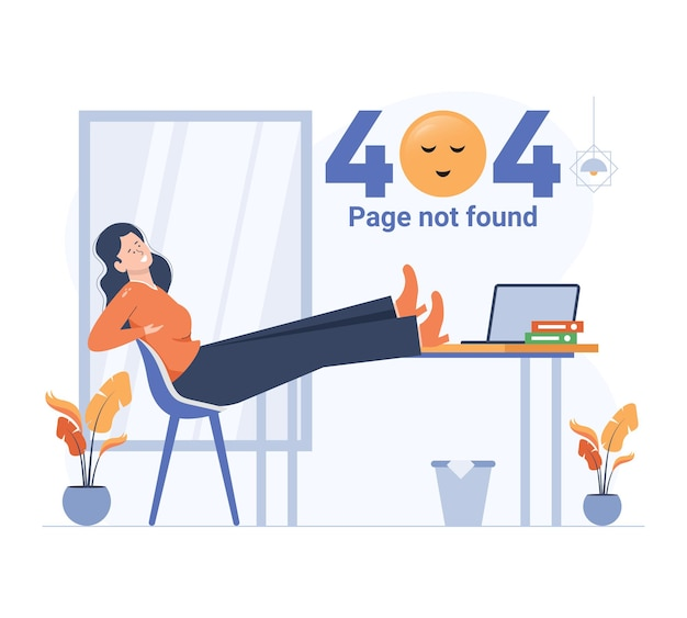 Dziewczyna relaksuje się podczas błędu 404