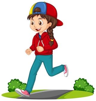 Dziewczyna robi bieganie postać z kreskówki na białym tle