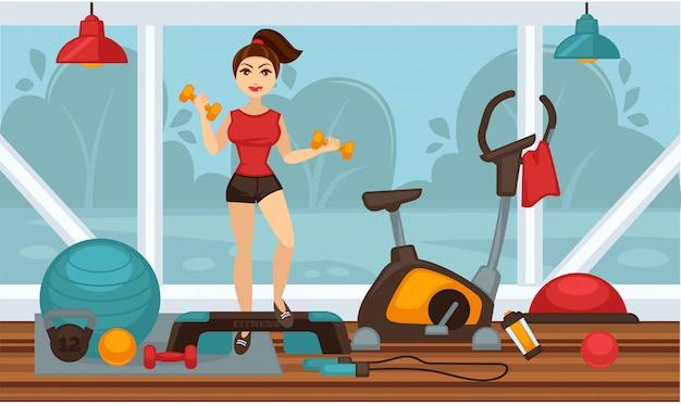 Dziewczyna robi ćwiczenia fizyczne z hantlami w siłowni