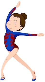 Dziewczyna robi ćwiczenia podłogowe gimnastyka